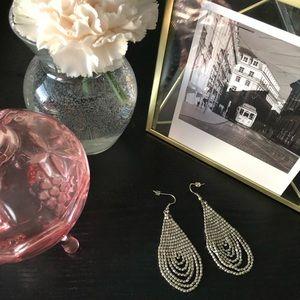 Silver Drop Beaded Earrings